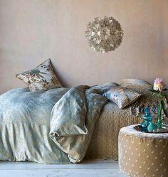 Colette Duvet Cover in Seaglass, Satin Velvet Quilted Coverlet in Sand, Silk Velvet Embroidered Decorative Pillowcases in Sand