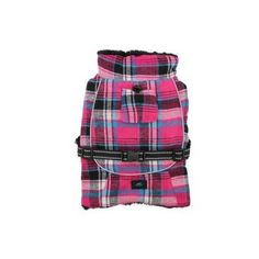 Alpine All-Weather Dog Coat Flannel — Raspberry Pink and Turquoise Plaid
