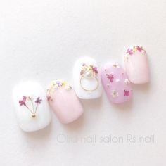 ピンク♡押し花ネイル