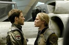 I could see her as Meg from I Need You for Christmas    Still of Jamie Bamber and Katee Sackhoff in Battlestar Galactica