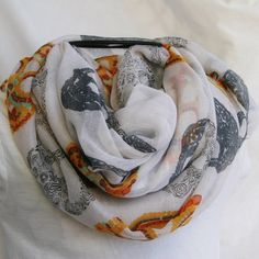 Sugar Skulls on White Novelty Fashion Infinity Scarf by elgies, $18.00