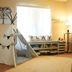 Adorable, personalized teepee - would be awesome in a kid's room or play room.love the whole playroom setup too! Childrens Teepee, Ideas Dormitorios, Deco Kids, Toy Rooms, Kid Spaces, New Room, Kids Decor, Kids Bedroom, Bedroom Wall