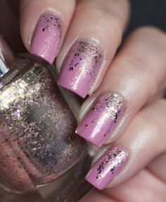 Reverse Glitter Gradient featuring China Glaze Pinkie Promise and AEngland She Walks In Beauty | A Polish Addict