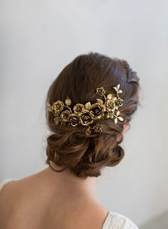 gold rose bridal hea