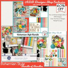 Bohemian Style Bundle of Bundles - 3 complete digital scrapbooking bundles by ADB Designs, Over the Fence Designs and PattyB Scraps