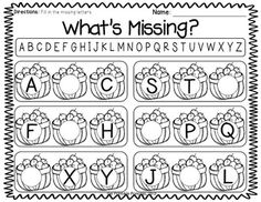 """""""What's Missing?"""" Alphabet Worksheet (from """"Rakin' in the Learning Fall Themed Literacy & Math Centers by The Printable Princess)"""
