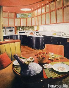 Kitchen. Differen colour upper and lower cabinets.