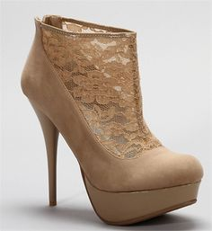 Nude Suede and Lace Booties..beautiful
