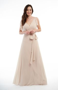 Jasmine Bridal is home to 8 separate designer wedding labels as well as two of our own line. Jasmine is the go to choice for wedding and special event dresses. Jasmine Bridesmaids Dresses, Neutral Bridesmaid Dresses, Beautiful Bridesmaid Dresses, Lovely Dresses, Beautiful Gowns, Chiffon Ruffle, Chiffon Gown, Chiffon Fabric, Ruffle Trim