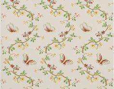 Guirlandes de fleurs et papillons virevoltants de style Louis XVI.           Papiers peints imprimés au cadre à la main. Non émargés.