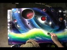 Champagne Supernova by Matt Sorensen spray paint art, space art
