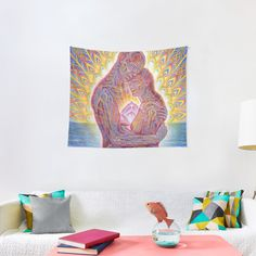 'Red, Blue and Yellow Summer Tie Dye Batik Wax Tie Die Print' Tapestry by paperandfrill Mandala Tapestry, Wall Tapestry, Textile Prints, Art Prints, Cameron Gray, Blend Images, Gold Watercolor, Thing 1, Orion Nebula