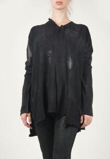 Rundholz Black Label Asymmetrical Printed Top in Black santa fey dry goods