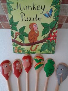 Monkey Puzzle Story Spoons Wooden Spoon Crafts, Wooden Spoons, Painted Spoons, Story Sack, Book Baskets, Story Stones, Indoor Play, Library Displays, Motor Activities