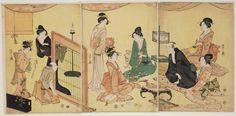 A Banquet with Entertainment   Museum of Fine Arts, Boston/ 酒宴図 Japanese Edo period about 1795 (Kansei 7) Artist Chôbunsai Eishi (Japanese, 1756–1829)