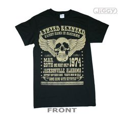 Lynyrd Skynyrd T-Shirt featuring the concert poster detail from their Sweet Home In Alabama show. This was a one night stand on March 20, 1974 in Jacksonville, Alabama. Support Southern Rock! Printed on a black 100% cotton t-shirt.