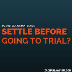 Do Most Car Accident Claims Before Going To Trial? What You Need To Know.  The vast majority of cases in Arizona settle long before a case gets to trial.  The percentages in Arizona are actually something like 97% to  3%.  What that means is....  Keep Reading: - http://www.zacharassociates.com/personal-injury-wrongful-death-faq/arizona-personal-injury-video-faq-frequently-asked-questions-and-answers/do-most-car-accidents-claims-settle-before-going-to-trial-arizona-personal-injury-faq/