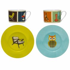 Modern Home Cup Set – Chairs & Collectables: The Modern Home range is a tribute to 26 of the last century's most iconic designs in homewares, illustrated in a charming, vintage screen-print style.