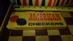 VINTAGE HALSAM AMERICAN EMBOSSED WOOD CHECKERS  No. 145H Free Shipping #HALSAM