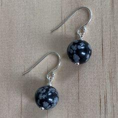 Sterling Silver Snowflake Obsidian Earrings