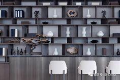 Shelving Design, Modern Shelving, Shelf Design, Cabinet Design, Wall Design, Modern Chinese Interior, Rio Tamesis, Interior Styling, Interior Design