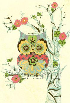 pretty owl...potential diy quilt, blanket, etc.
