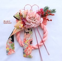 【ラスト1個】ダリアの和モダン「しめ縄飾り」 Japanese Ornaments, Chinese New Year, Flower Arrangements, Diy And Crafts, Projects To Try, Kawaii, Wreaths, My Favorite Things, Flowers