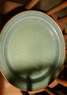 "Dansk Designs Denmark 'TEAL' Dinner Plates 10"" with deap brown around edges.RARE"