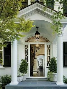Love a grand entrance - front exterior facade. columns, windows, moldings my home entrance! Very welcoming Style At Home, Front Entrances, Classic House, Home Fashion, Architecture Details, House Architecture, Revival Architecture, Mediterranean Architecture, Curb Appeal