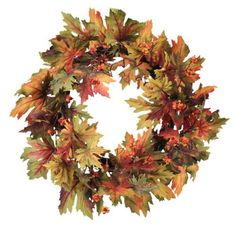 Melrose International 20-Inch Diameter Colorful Fall Maple Leaf Wreath - List price: $54.30 Price: $25.45 Saving: $28.85 (53%) + Free Shipping