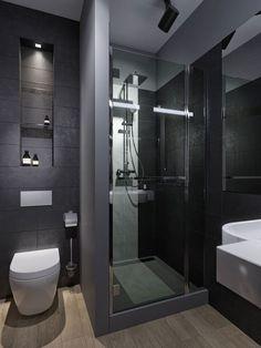 Grey apartments on Behance Washroom Design, Bathroom Design Luxury, Modern Bathroom Design, Modern Bathroom Tile, Bathroom Layout, Master Bathroom, Small Grey Bathrooms, Shower Bathroom, Vanity Bathroom