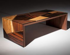 """La Città"" -  A coffee table formed by 4 type of veneers: Macassar Ebony, Ziricote, Spalted Beech & American Walnut.   By Roi Klifi"