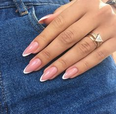 - Care - Skin care , beauty ideas and skin care tips French Tip Acrylic Nails, White Acrylic Nails, Almond Acrylic Nails, Best Acrylic Nails, French Nails, Almond Nails French, White Nails, Classy Nails, Stylish Nails