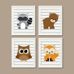 WOODLAND Nursery Art Animals Rustic Country Baby Boy Gray Decor Raccoon Bear Owl Fox WALL ART Set of 4 Prints Woodland Decor Bedding Picture...