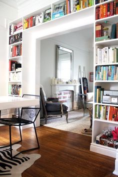 Best apartment therapy livingroom built ins Ideas Floor To Ceiling Bookshelves, Bookshelves Built In, Built Ins, Apartment Bookshelves, Bookshelf Wall, Wall Shelves, Bookshelves Ikea, Bookshelf Ideas, White Shelves