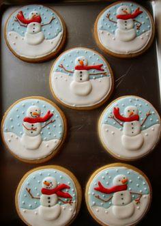 snow globe snowmen cookies