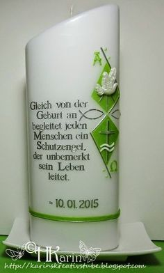 "Karins Kreativstube: Tischkerze Taufe ""Fabian"" hellgrün Personalized Candles, Pillar Candles, Embellishments, English, Candles"