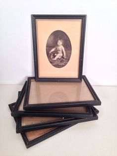 antique 1930s/40s black painted wooden picture frames - set of 5 - 6x8  by forrestinavintage, $32.00