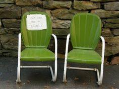 vintage metal rockers   Turkey Farm Treasures: Vintage Metal Lawn Chairs