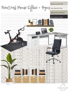 Neutral Home Office And Gym Home By Kmb Gym Room At Home Office Room Decor Home Office And Gym
