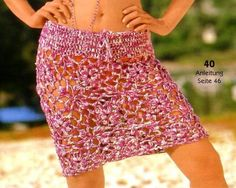 Swim Skirt free crochet graph pattern Crochet Woman, Love Crochet, Knit Crochet, Plus Size Sewing Patterns, Skirt Patterns Sewing, Crochet Skirts, Crochet Clothes, Tie Skirt, Crochet Fashion