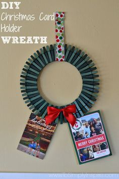 Make this easy and adorable DIY Christmas Card Holder Wreath to display all the great photo cards you get each year.