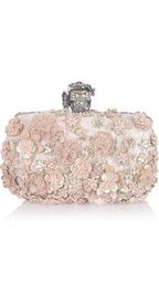 Alexander McQueen Flower-appliquéd silk-brocade box clutch