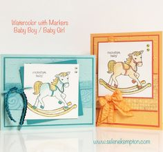 Stampin' Up! Watercolor with Markers Card Class featuring the Little Cuties Stamp Set In Person, To Go, or Directions Only