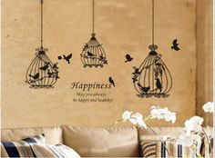 Three Birds Cage Nature Vinyl Wall Decal Art Sticker 27