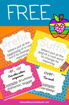 Your students will master prefixes and suffixes with these free prefixes and suffixes posters. Free for a limited time. #prefixesandsuffixes #prefixesandsuffixesanchorcharts #prefixesandsuffixesactivities ##prefixesandsuffixesworksheets #rootwords #homeschool #printables #homeschoolresources #phonics Kindergarten Worksheets, Worksheets For Kids, Prefixes And Suffixes, Root Words, Kids Education, Phonics, Lesson Plans, Curriculum, Homeschooling
