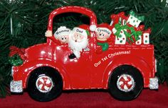Personalized Our 1st Xmas as Family Tabletop Christmas Decoration Fire Engine First Xmas as a Family | RussellRhodes.com Our First Christmas Ornament, Personalized Christmas Ornaments, Perfect Christmas Gifts, 1st Christmas, Xmas, Baby Ornaments, Christmas Decorations, Holiday Decor, Fire Engine