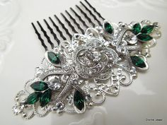 Bridal Rhinestone Hair Comb Wedding Rhinestone Hair by DivineJewel, $49.00