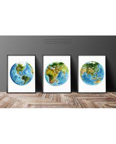 Planet Earth Set 3 Art Prints Blue Living Room by ColorWatercolor