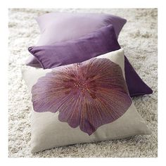 Love these pillows for a purple and grey room! Gotta love Crate and Barrel!